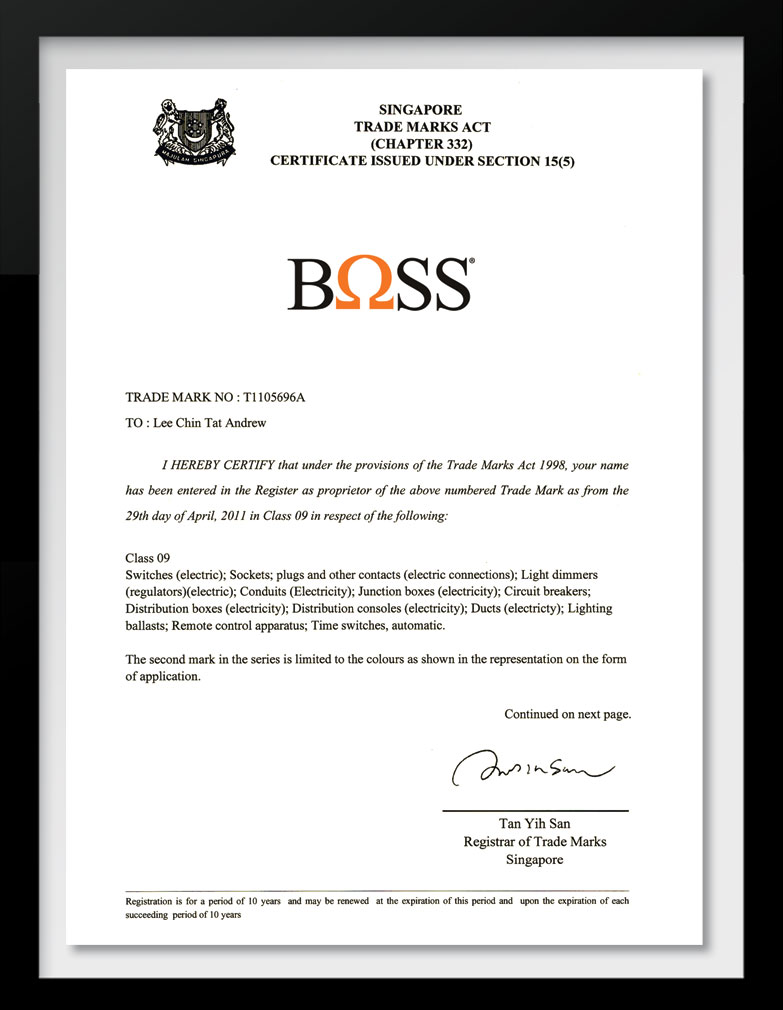 Boss Pt Australindo Graha Nusa Clipsal Wiring Devices Philippines Trademarks Certification